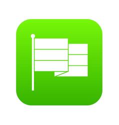 black flag icon digital green vector image