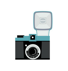 Blue and black analog film camera icon flat vector