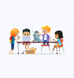 Boys and girls standing and sitting around desk vector