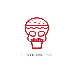 burger fries and skull simple vector image