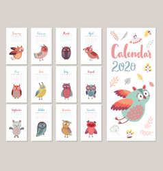 Calendar 2020 cute monthly calendar with vector