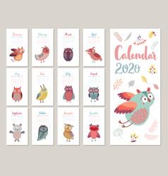 Calendar 2020 cute monthly vector