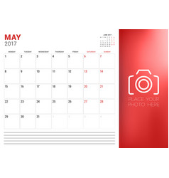 Calendar planner template for may 2017 week vector