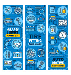Car and transport auto service center banners vector