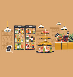 Cartoon colorful interior supermarket with vector