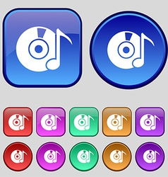 CD or DVD icon sign A set of twelve vintage vector