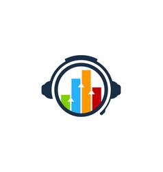 Chart podcast logo icon design vector