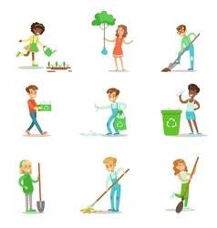 Children helping in eco-friendly gardening vector