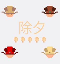 China man head collection of vector