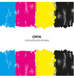 cmyk colored brush strokes vector image