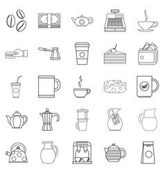 Coffee house icons set outline style vector