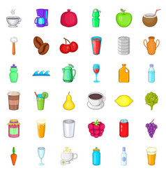 cold drink icons set cartoon style vector image