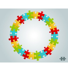 Colorful puzzle pieces round frame vector