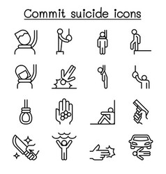 commit suicide icon set in thin line style vector image