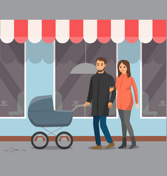 couple with bacarriage walk cafe windows vector image