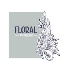 decorative floral boho card hand drawn sketch vector image