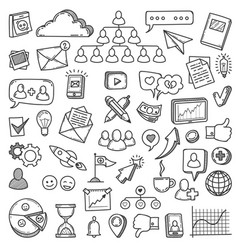 doodle social media sketch social networks vector image