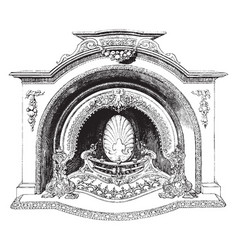 fireplace heat vintage engraving vector image