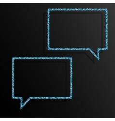 Frame Blue Sequins Speech Bubble Sparkle Stars vector image