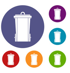 Garbage bin icons set vector