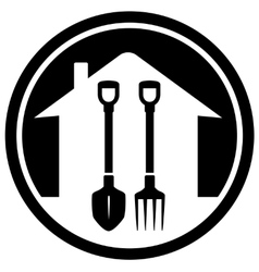 Garden landscaping icon with shovel and pitchfork vector