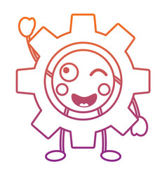 Gear machinery piece cute kawaii cartoon vector