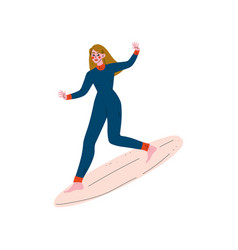 girl surfer in wetsuit riding surfboard catching vector image