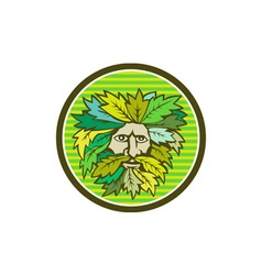 Green Man Foliate Head Circle Retro vector