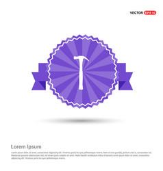 hammer icon - purple ribbon banner vector image