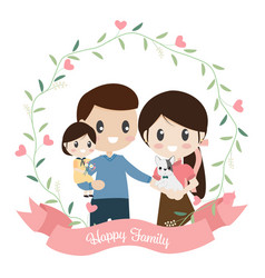 happy family cartoon flat style in heart wreath vector image