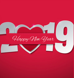 Happy new year 2019 with heart on pink background vector
