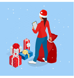 isometric online christmas shopping delivery vector image