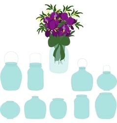 Jars set bouquet of irises in a jar vector
