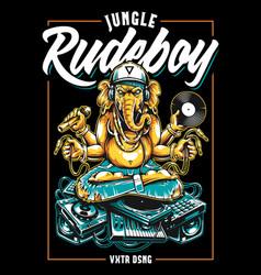 jungle rude boy ganesha art vector image