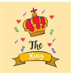 king red crown style doodles vector image