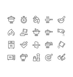 Line cooking icons vector