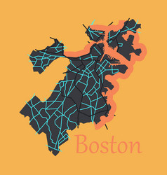 Map of boston city flat vector