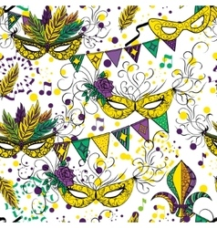 Mardi Gras or Shrove Tuesday seamless pattern vector image