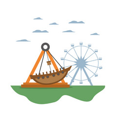 Mechanical ship ride and ferris wheel games vector