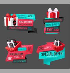 mega discount exclusive product sale banners set vector image