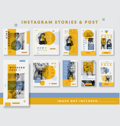 Minimalist instagram stories and feed design vector