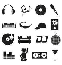 music club dj black simple icons set eps10 vector image