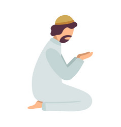 Muslim man praying on his knees man communicating vector