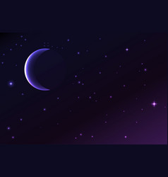 night sky with a crescent moon and stars vector image