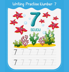 Number seven tracing worksheets vector