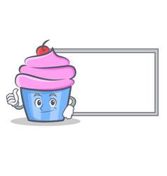 Okay cupcake character cartoon style with board vector