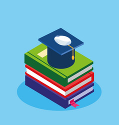 Online education with ebooks and graduation hat vector