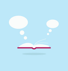 open book and white speech bubble flying out flat vector image