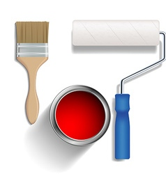 Paint roller brush and a bucket of paint vector