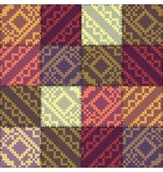 Patchwork pattern with the decorative embroidery vector